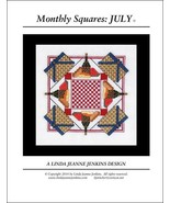 Monthly Squares July cross stitch card chart Linda Jeanne Jenkins - $6.00
