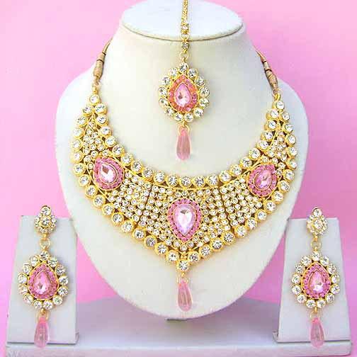 Indian bridal jewelry wedding set diamond pink stones np for Pink wedding jewelry sets