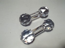PAIR (2) VICTORIAN STYLE CUT CRYSTAL CLEAR GLASS KNIFE REST~~VINTAGE - $8.99