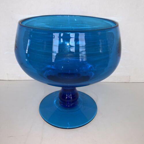 "Vintage Blenko Aqua Blue Glass Footed Compote 8 1/4"" - $100.00"