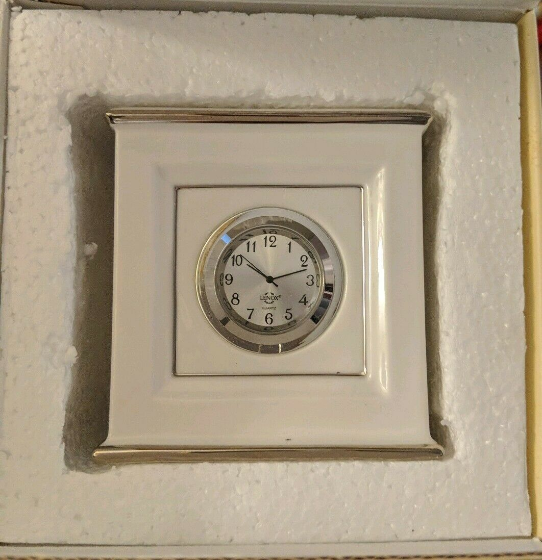 Primary image for Lenox Solitaire CLOCK White With Platinum trim NWT 58.00 New in Box Ivory