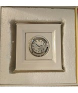 Lenox Solitaire CLOCK White With Platinum trim NWT 58.00 New in Box Ivory - $22.76