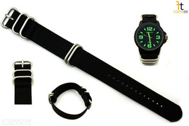 24mm Fits Luminox Nylon Woven Black Watch Band Strap 4 Stainless Steel R... - $22.95