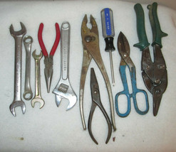 TOOL LOT 10 pieces ,snips, pliers needle nose, crescent box & open end wrench - $13.32