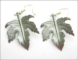 MAPLE LEAF Pierced EARRINGS Vintage Dangle Leaves Silvertone Wires  Autu... - $14.99