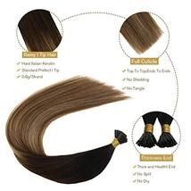 Ugeat 16 Inch Keratin Tipped Human Hair Extensions 0.8g/Strand Color #1B/4/27 Ba image 5
