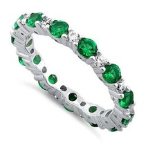 ZirconZ Sterling Silver Emerald Clear CZ Eternity Band Wedding Ring 0.84... - $34.99