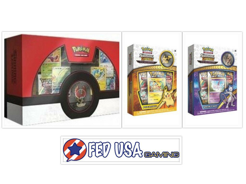 Pokemon Shining Legends Super Premium Collection + Pikachu & Mewtwo Box Bundle