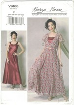 Vogue 9168 Kathryn Brenne Flutter Sleeve Maxi Dress & Slip Pattern Choos... - $16.99