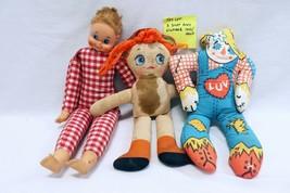 ORIGINAL Vintage Lot of 3 Soft Body Baby Dolls / Brands Unknown  - $9.89