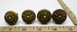 4 Detailed Brass Knobs Cabinet Drawer Pulls Mid-Century or Earlier Heavy Durable - $27.81