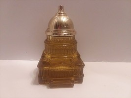 Avon Amber Glass Capitol Building Decanter - 1970,  mostly full - $3.95