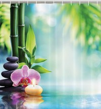 Orchid Flower Bamboo Zen Fabric Shower Curtain Asian Spa Stone Candle 75... - $22.29