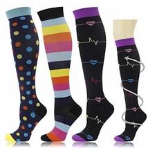 3 Pairs Graduated Medical Compression Socks for Women Men 20-30mmhg Knee... - $16.59