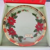 Vintage Lefton Michio Suzuki Poinsettia Christmas Plate Made in Japan - $20.76
