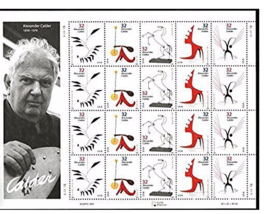 Alexander Calder Full Sheet, Cent Postage Stamps, USA 1997, Scott 3198-3202 - $9.22