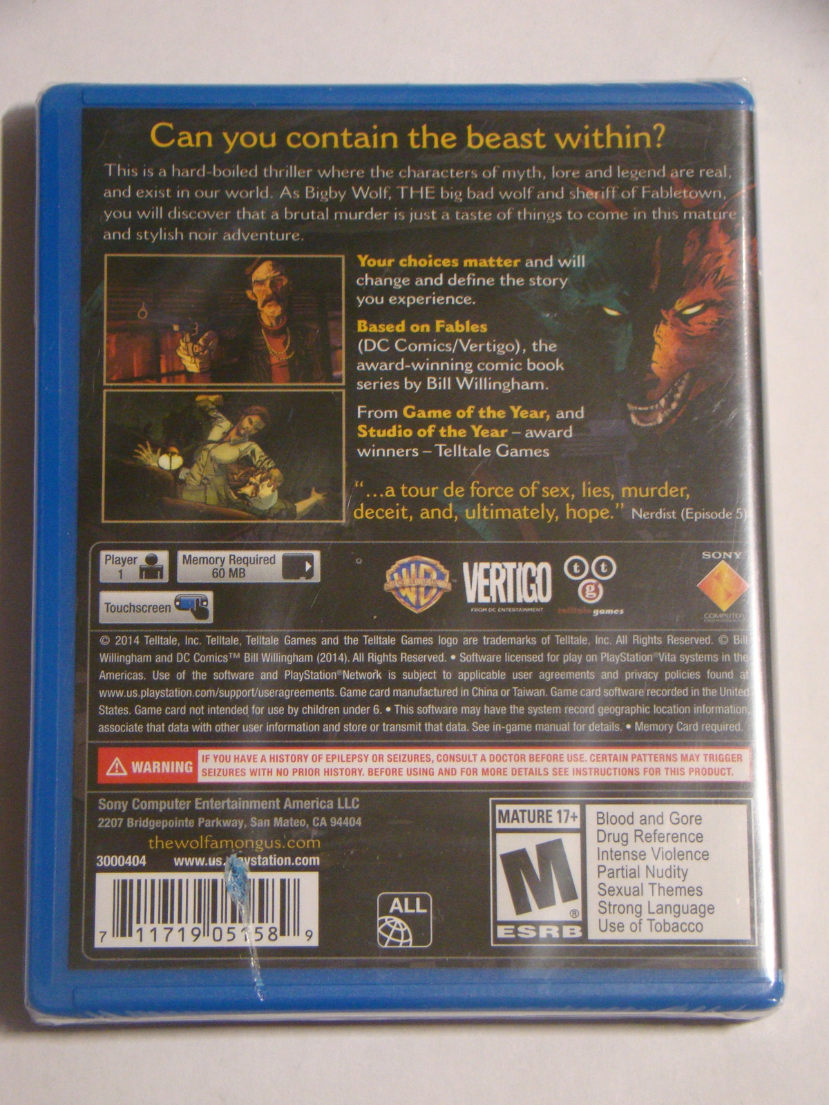 Playstation VITA - THE WOLF AMONG US (Complete)