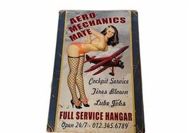 Airplane Metal Tin Sign Sexy Woman Aero Mechanics Mate Full Service Hang... - $69.25