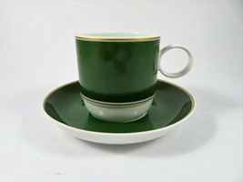 Rosenthal Studio Linie Germany Cup & Saucer Green White Gold Band 7 Ounce Rare - $28.24
