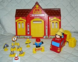 Fisher Price Fire Department 3 Lil people, 1 truck, 4signs,4cones, 2 gas... - $16.79