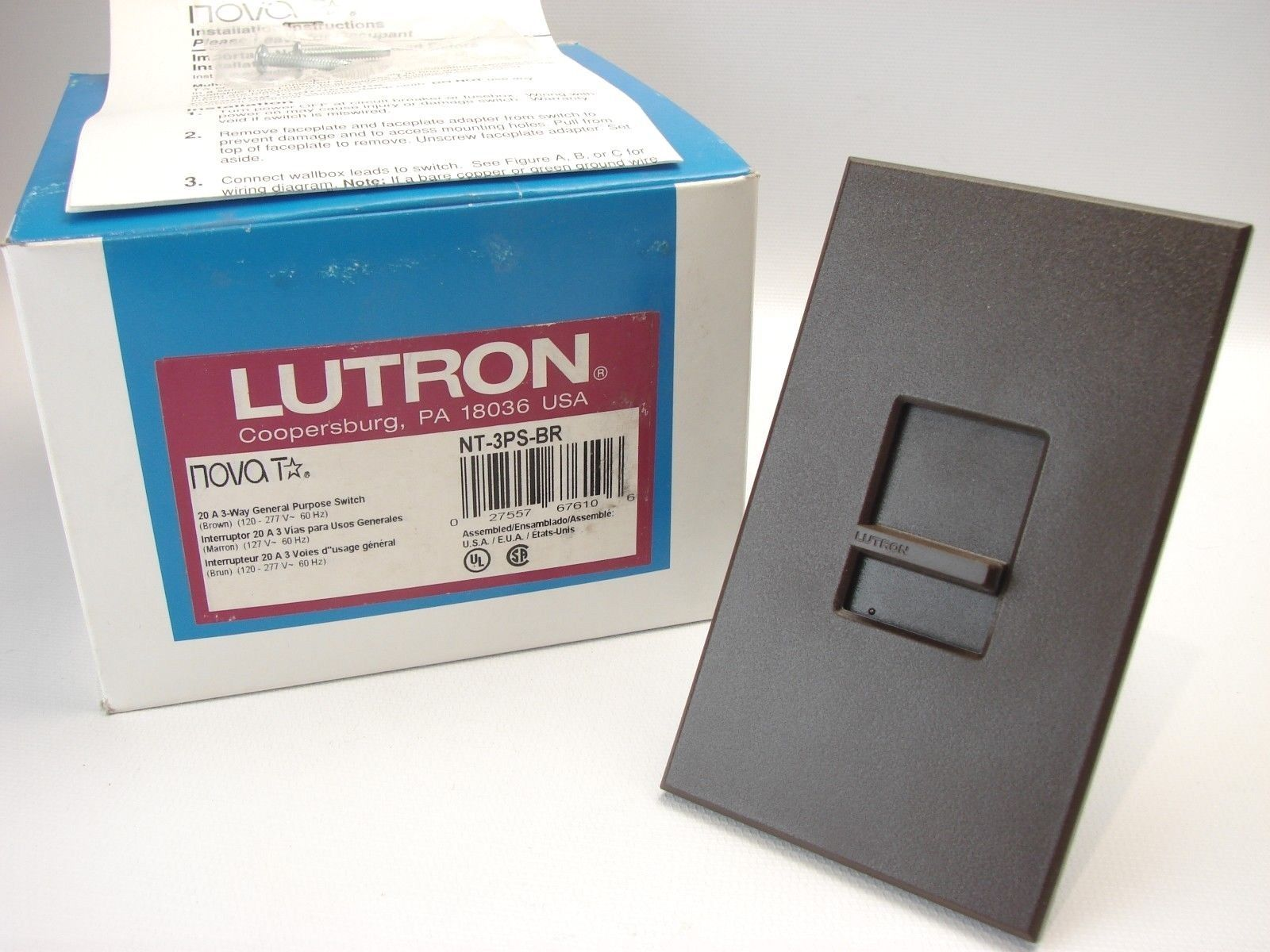 New Lutron Nt 3ps Br Nova T 3 Way Switch And Similar Items Wiring Diagram 110 Volt S L1600
