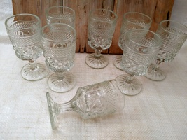 Set of 8 ANCHOR HOCKING WEXFORD WINE GOBLETS 5- 1/4 in. H     image 2