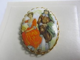 Porcelain Cameo pin brooch vintage from the 80's gold tone woman and man... - $18.00