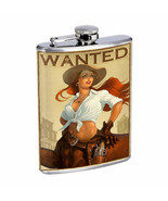 Hot Cowgirls D14 Flask 8oz Stainless Steel Hip Drinking Whiskey - $13.81