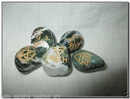 Jet New Tree Agate 5 Element Tumbled Stones Thick Genuine Earth Wiccan P... - $18.99