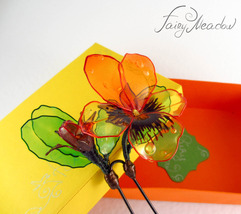 SALE! Pansy Hair Pin Handmade Yellow Orange Flower Resin Kanzashi Clip S... - $30.00