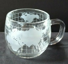 The Nestle Inc set 4 vintage 1980's clear glass etched frosted globe mug... - $39.59