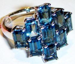 LONDON BLUE TOPAZ OCTAGON CLUSTER RING, 925 STERLING SILVER, SIZE 8, 6.00(TCW) - $121.50