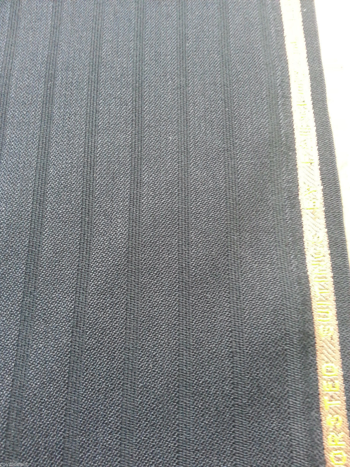 4.5 Yard Super 120s Wool Black Worsted Suit Fabric By Fairglow msrp 695