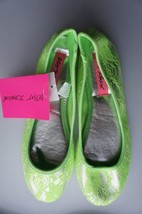 Betsey Johnson Flats Sz S Lime Green Silver Floral Laced Textile Sole Shoes - $17.53