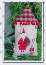 Santa With His Helper - Red cross stitch chart Madame Chantilly - $9.00