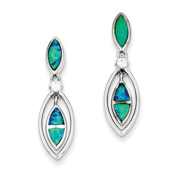 Primary image for Lex & Lu Sterling Silver CZ Blue Inlay Created Opal Marquise Earrings