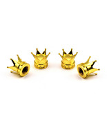 SET OF 4 GOLD CROWN UNIVERSAL VALVE CAR TRUCK WHEEL TIRE AIR STEM CAPS - $23.74
