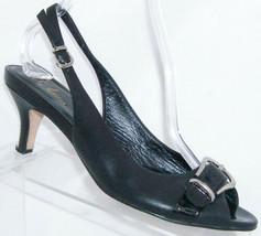Cole Haan black leather peep toe buckle slingback NikeAir heel 8.5B 4986 - $21.37