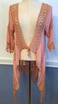 One Size Paradise Boho Chic Shawl Cardigan Fringed Pink Coral Women's - £17.27 GBP