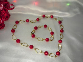 Valentine Vintage Gold Hearts and Bright Red Balls Necklace and Bracelet... - $25.00
