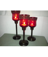 Brass & Red Glass Candle Holders Set Vintage NIB Candelabra fm India Codson Park - $65.00
