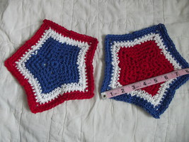 SET OF 2 HAND CROCHETED DISH CLOTHS RED WHITE BLUE STARS CLEAN WASH CLOTH - $9.00