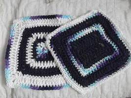SET OF 2 HAND CROCHETED DISH CLOTHS NAVY BLUE, MIXED BLUES &  WHITE WASH... - $8.00