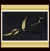 "Vintage Antique Silver or Antique Gold Plate Feather 19.5"" Leather Necklace"