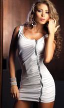 264L001 Stunning Polyester Halter Blouse, zipper front,free size, white - $22.50