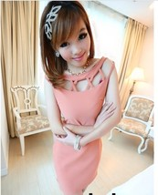 Sexy cross-mesh pencel dress, fit to S..x pink - $18.80