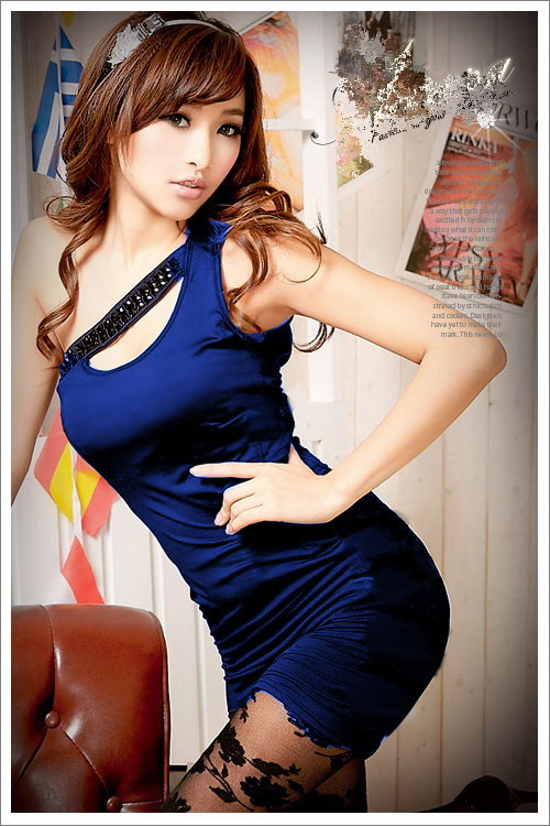 PS247-0110 Sexy nightclub oblique shoulder slim dress,free size, fit to S/M/L bl - $18.80