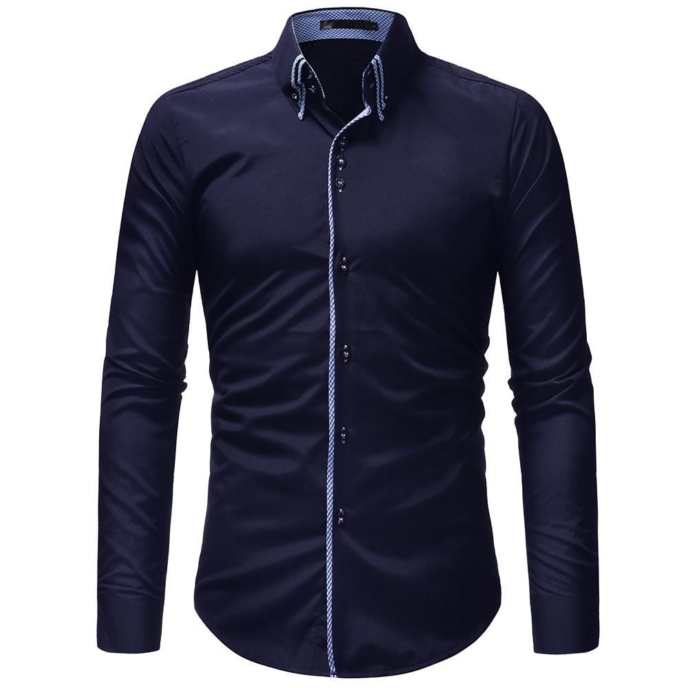 Primary image for JCCHENFS 2018 Brand Casual Shirt Men Double Collar Design Long Sleeve Slim Shirt