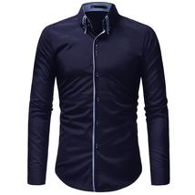 JCCHENFS 2018 Brand Casual Shirt Men Double Collar Design Long Sleeve Sl... - $31.65+