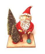 Santa Folk Art Rustic Looking Christmas Ornament Joy Two Bottle Brush Trees - $47.52